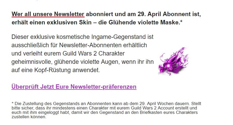 cb8c7ffb0d3e54 Glühende violette Maske als Belohnung für den Newsletter - Update  3 ...