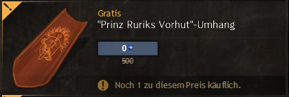 Prinz Ruriks Vorhut Umhang im Shop