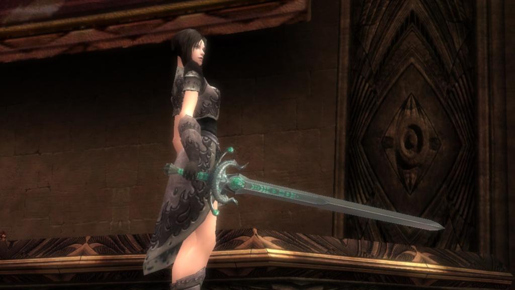 Das edle Schwert Silberschneide in Grautönen und Grün gehalten .