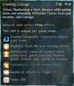"""Beschreibung von """"Crashing Courage"""" aus dem Guild Chat zum Willensverdreher"""