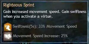 """Beschreibung von """"Righteous Sprint"""" aus dem Guild Chat zum Willensverdreher"""