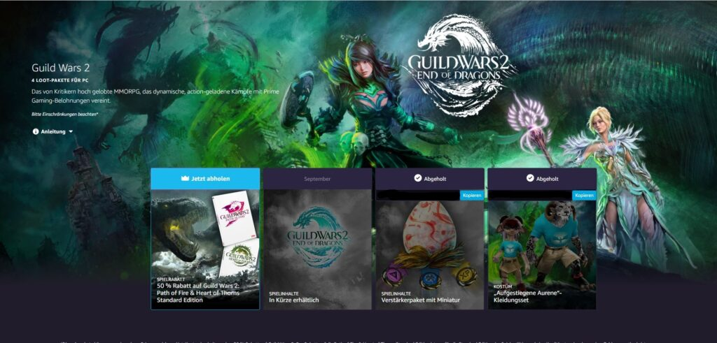 Alle vier Loot-Pakete auf Prime Gaming.